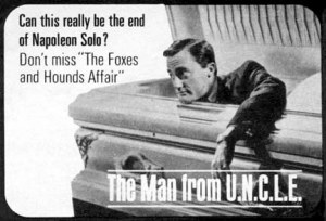 The symbolism of a 1965 TV Guide ad for The Man From U.N.C.L.E. came true little more than two years later. (Picture from the For Your Eyes Only Web site)