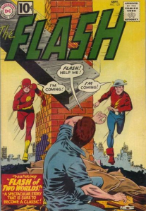 "Carmine Infantino's cover to Flash No. 123, ""The Flash of Two Worlds."""