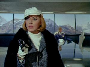 Eleanor Parker in the final episode of The Man From U.N.C.L.E.  That's Leslie Nielsen in the background. She's not going to like what his character does moments later.